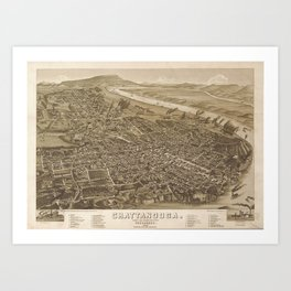 Vintage Pictorial Map of Chattanooga (1886) Art Print
