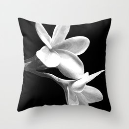 White Flowers Black Background Throw Pillow