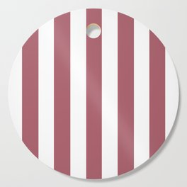 Deep puce purple - solid color - white vertical lines pattern Cutting Board