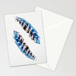 Two  blue feathers Stationery Cards