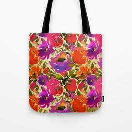Vibrant Purple and Orange Blossom on Gold  Tote Bag