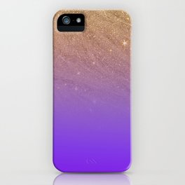 Elegant gold faux glitter chic purple gradient pattern iPhone Case
