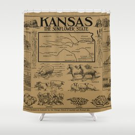 Vintage Illustrative Map of Kansas (1912) - Tan Shower Curtain