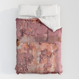 Vintage Cracked Wall Paint in Smoky Rose Pink Hues Comforters