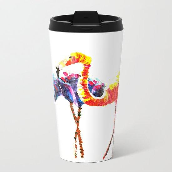 Flamingos after a Colour Run Metal Travel Mug