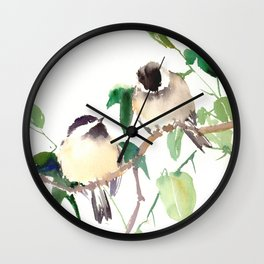 Chickadees, birds on tree, bird design neutral colors Wall Clock