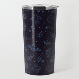 Blue Space Pattern Travel Mug