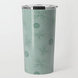 Mint grey green tropical flower print Travel Mug