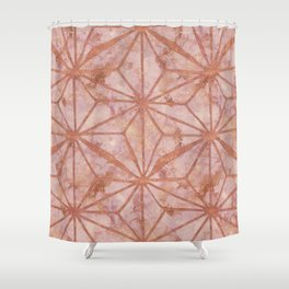 North Star Rose Gold Metal Marble Abstract Shower Curtain