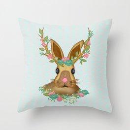 Woodland Bunny at Spring Throw Pillow