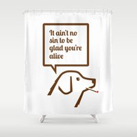 smoking Shower Curtains featuring SMOKING DOG by Brian Walker