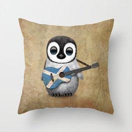 Baby Penguin Playing Scottish Flag Guitar Throw Pillow