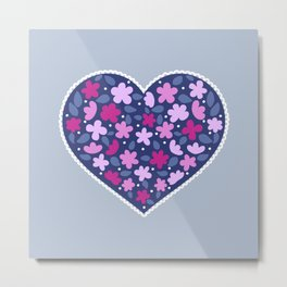 Floral hearts Metal Print