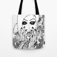 goth Tote Bags featuring goth love by Jess John
