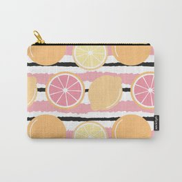 cute striped pattern background with lemons and oranges Carry-All Pouch