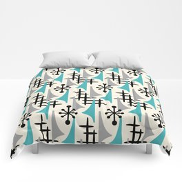 Mid Century Modern Atomic Wing Composition Blue & Grey Comforters