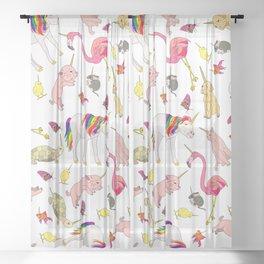 Unicorn Animals Sheer Curtain