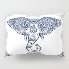 Bohemian Elephant Tribal Boho Gradient Blue Pillow Sham