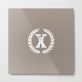 Beige Monogram: Letter X Metal Print