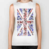 union jack Biker Tanks featuring Union Jack by David T Eagles