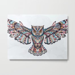 Colorful Ethnic Owl Metal Print