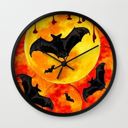 Bloody Full Moon Bats Wall Clock