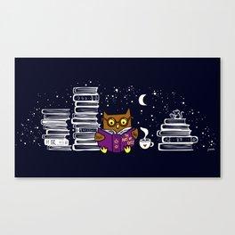 Owl Night Reader Canvas Print