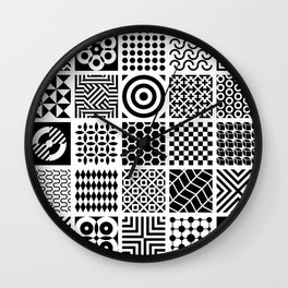 Black and White abstract geometric design Wall Clock
