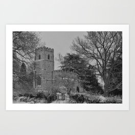 St Botolph's Church, Rugby Black and White Art Print