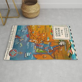 Vintage Romp in Rhode Island Travel Vacation Advertising Poster Rug
