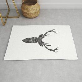 Grey Deer Head Illustration Rug
