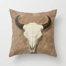 Bison Skull with Rose Rocks Throw Pillow