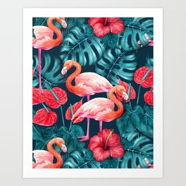 Flamingo birds and tropical garden        watercolor in blue and red Art Print