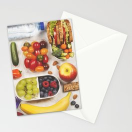 Healthy lunch box with sandwich and fresh vegetables Stationery Cards