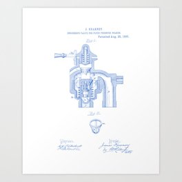 Engineer's Valve for Fluid Pressure Brakes Vintage Patent Hand Drawing Art Print