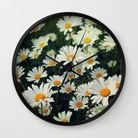 daisies Wall Clocks featuring Daisies by KunstFabrik_StaticMovement Manu Jobst