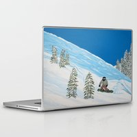 snowboarding Laptop & iPad Skins featuring Snowboarding by N_T_STEELART