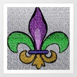 Fleur De Lis Purple Green and Gold Art Print
