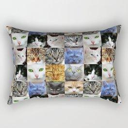 Cat Face Collage Rectangular Pillow