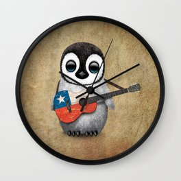 Baby Penguin Playing Chilean Flag Acoustic Guitar Wall Clock