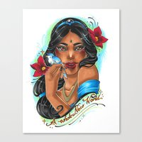 jasmine Canvas Prints featuring Jasmine by Little Lost Forest