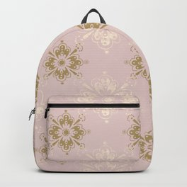 Ornamental Geometric Soft Pink and Metallic Backpack