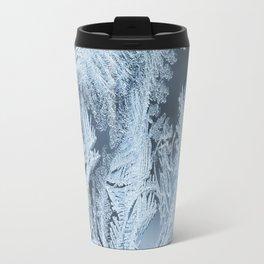 White Ice Crystals On Blue Background #decor #society6 #homedecor Travel Mug