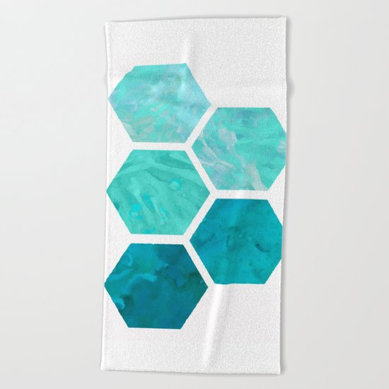 Blue polygon Beach Towel