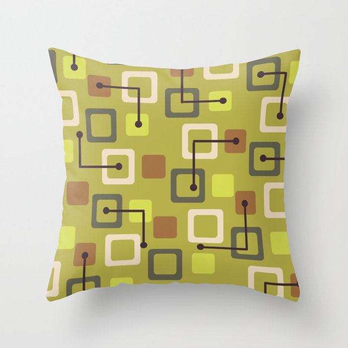 Midcentury 1950s Tiles & Squares Chartreuse Throw Pillow