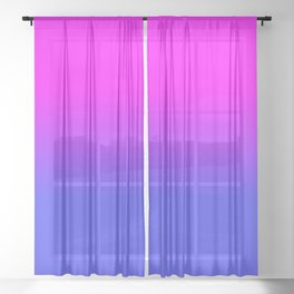 Neon Blue and Hot Pink Ombré Shade Color Fade Sheer Curtain