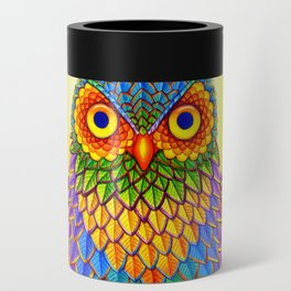 Colorful Rainbow Owl Can Cooler