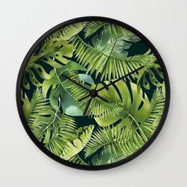 Lush Green Monstera And Palm Leaf Pattern Wall Clock