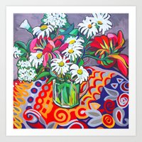 daisies Art Prints featuring Daisies by marlene holdsworth