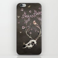 animal skull iPhone & iPod Skins featuring Animal Skull and Butterflies by Paula Belle Flores